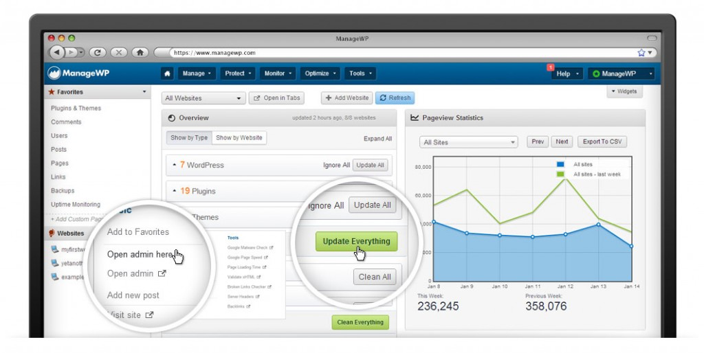 ManageWP dashboard