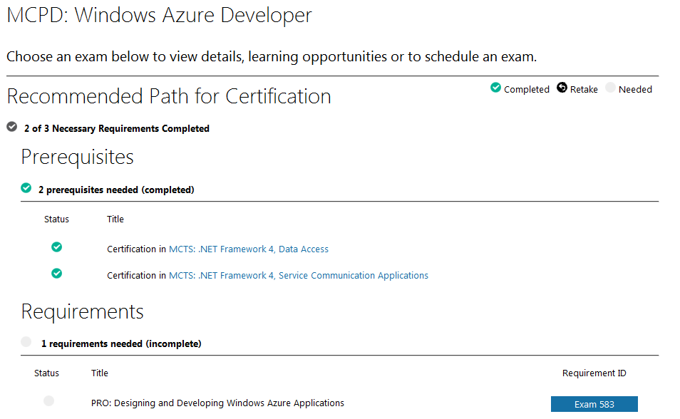MCPD Windows Azure Developer prerequisites and requirements