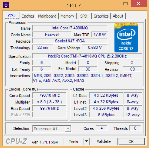 Latitude E6540 CPU-Z Intel core i7 4900MQ